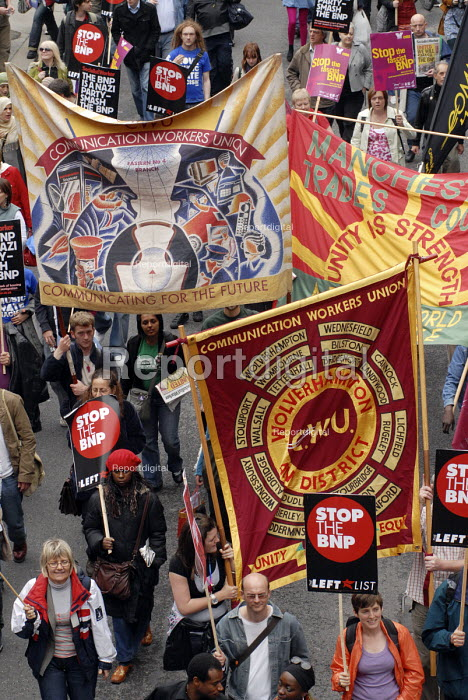 Trade Union banners on the anti-Fascist march through London protesting against the BNP. Here CWU banners are to the fore - Stefano Cagnoni - 2008-06-21
