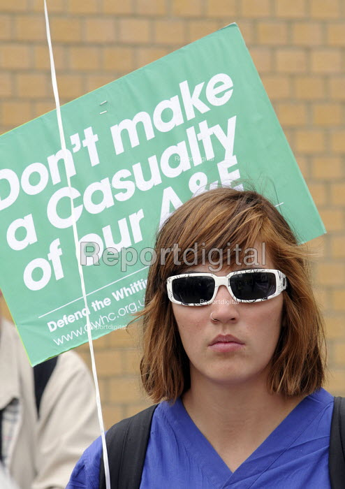 Student nurse from King's College joins Protestors at a rally at The Whittington Hospital in north London, against the closure of the A&E & Maternity Departments. - Stefano Cagnoni - 2010-04-29