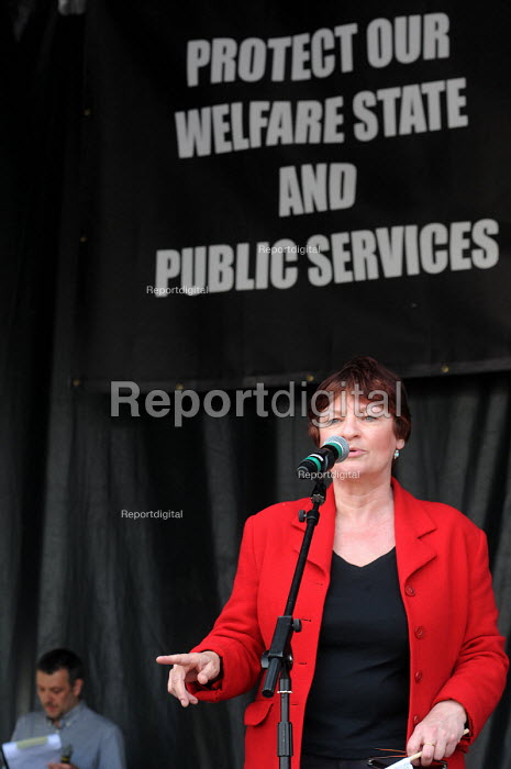 Christine Blower NUT speaking at the rally in Trafalgar Square in support of the welfare state and continued state investment in public services and against any cuts in provision - Stefano Cagnoni - 2010-04-10