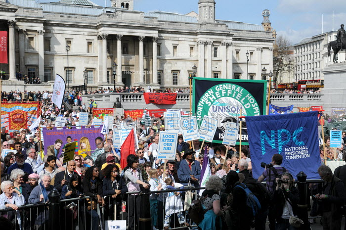 GMB, NUT & UNISON trade union banners at the rally in Trafalgar Square in support of the welfare state and continued state investment in public services and against any cuts in provision - Stefano Cagnoni - 2010-04-10