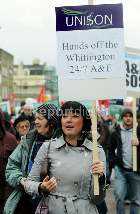 Woman joins the march to the Whittington Hospital in north London in protest at the threatened closure of its A & E & Maternity Departments through cuts in funding - Stefano Cagnoni - 2010-02-27