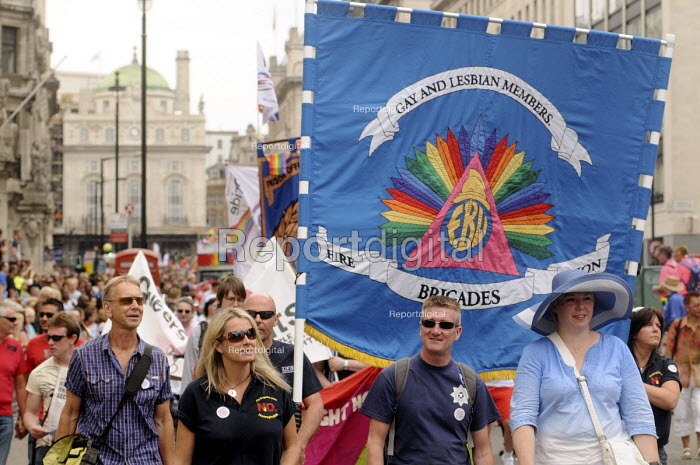 Gay Pride demonstration in London on the 40th anniversary of the first Gay Pride march. FBU members on the demonstration. - Stefano Cagnoni - 2011-07-02
