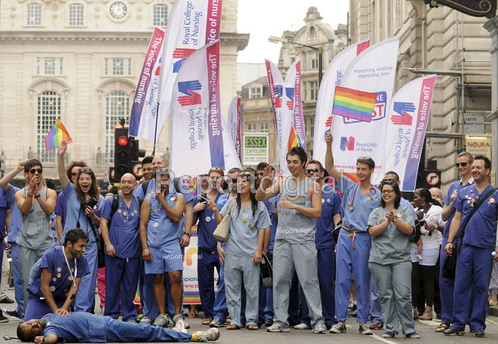 Gay Pride demonstration in London on the 40th anniversary of the first Gay Pride march. RCN members health workers role play life saving resuscitation during the demonstration. - Stefano Cagnoni - 2011-07-02