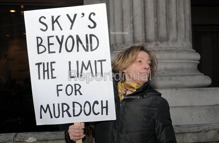 Outside the Department for Culture, Media & Sport, protestors demonstrate against the decision by Government not to refer Rupert Murdoch's bid to buy BSkyB to the Competition Commission for a full enquiry; opening the door for Murdoch to have control of the British media. - Stefano Cagnoni - 2011-03-03
