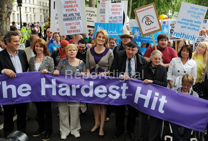 The Hardest Hit - a campaign group of united Disability Rights organisations, protest in London against cuts in disability benefit. It was the biggest ever protest by disabled people in the UK; joined here by actress Jane Asher & Sally Bercow, wife of the Speaker of the House of Commons - Stefano Cagnoni - 2011-05-11