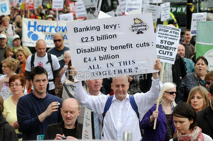 The Hardest Hit - a campaign group of united Disability Rights organisations, protest in London against cuts in disability benefit. It was the biggest ever protest by disabled people in the UK. - Stefano Cagnoni - 2011-05-11
