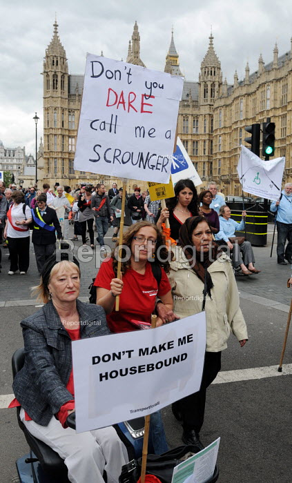 Don't you dare call mea scrounger.. The Hardest Hit - a campaign group of united Disability Rights organisations, protest in London against cuts in disability benefit. It was the biggest ever protest by disabled people in the UK. - Stefano Cagnoni - 2011-05-11