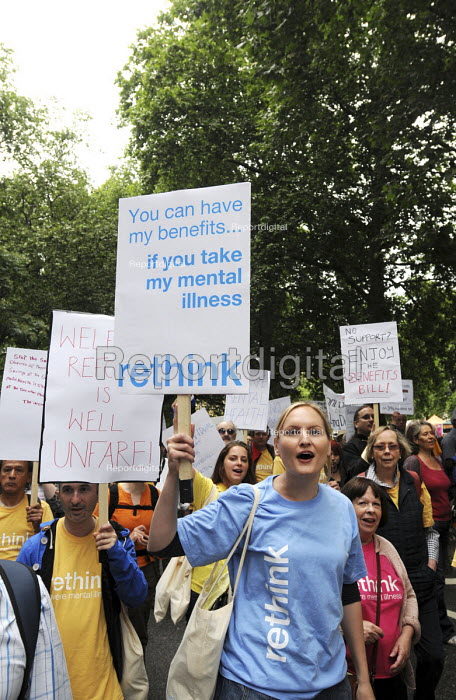 Rethink. The Hardest Hit - a campaign group of united Disability Rights organisations, protest in London against cuts in disability benefit. It was the biggest ever protest by disabled people in the UK. - Stefano Cagnoni - 2011-05-11