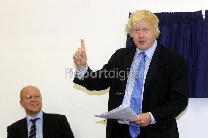 Boris Johnson, Mayor of London, speaking at the official opening of the West London Free School Hammersmith, London. To the right is Toby Young, lead proposer for the new school. - Stefano Cagnoni - 2011-09-09