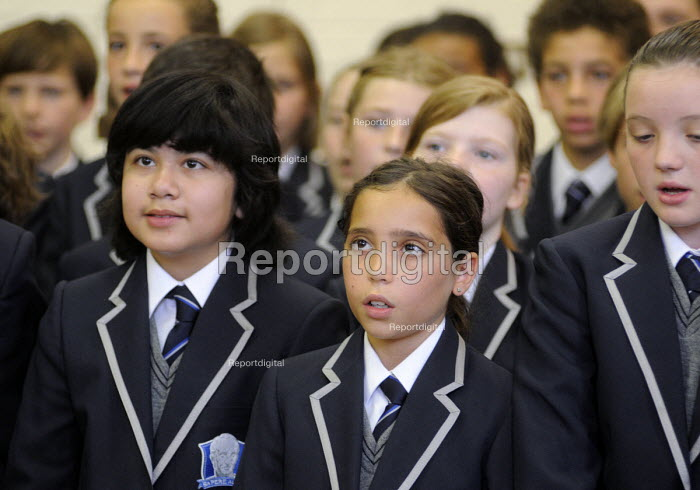 The first ever Year 7 intake at the West London Free School Hammersmith, London. - Stefano Cagnoni - 2011-09-09