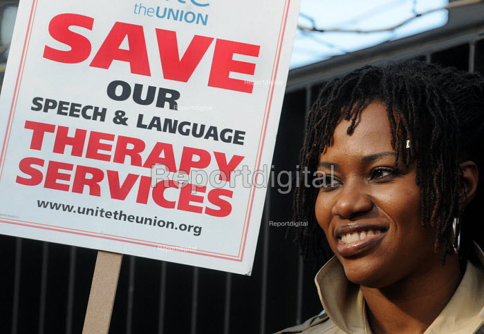 Childrens Speech Therapists stage a one day strike in Southwark against cuts in the Childrens Speech and Language Therapy Services which will mean a one third reduction in jobs and in the provision of language therapy. - Stefano Cagnoni - 2011-02-03