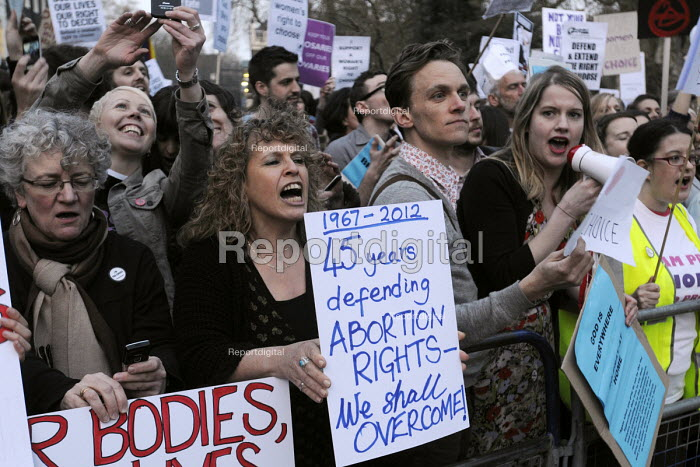 Pro-abortion campaigners in support of a woman's right to choose stage a counter demonstration to the '40 Days For Life' anti-abortion campaigners vigil of prayer outside the offices of the British Pregnancy Advisory Council in Bedford Square. - Stefano Cagnoni - 2012-03-30