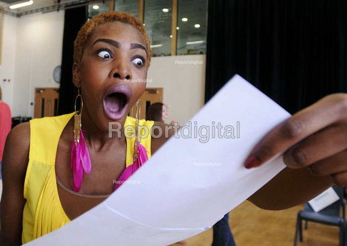 Student at an Academy School in north London displaying huge surprise as she receives her GCSE results. - Stefano Cagnoni - 2012-08-23