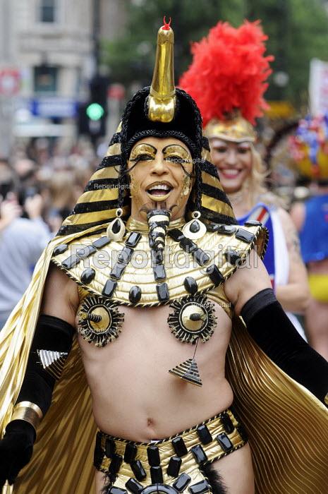 Egyptian pharaoh costume. World Pride 2012 demonstration in London. - Stefano Cagnoni - 2012-07-07