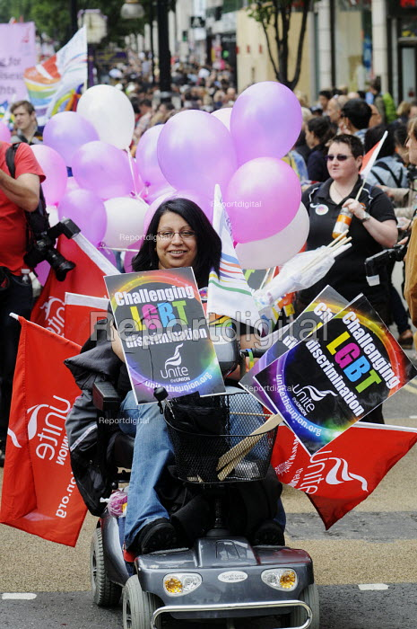 World Pride 2012 demonstration in London. Disabled member of UNITE joins the celebration. - Stefano Cagnoni - 2012-07-07