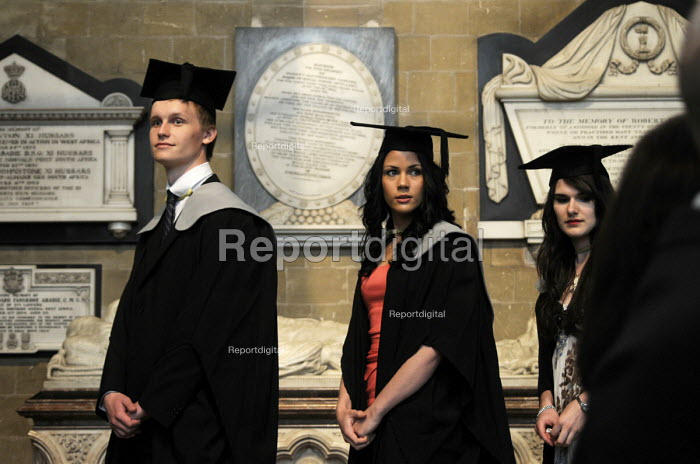 Undergraduates waiting in the transept of Canterbury Cathedral prior to receiving their degree certificates at the Graduation ceremony for students from the University of Kent. - Stefano Cagnoni - 2012-07-09