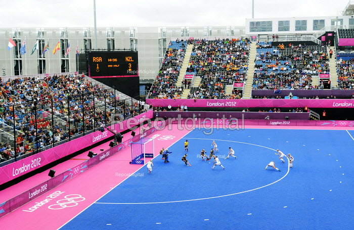 A Penalty Corner during the womens hockey match between South Africa & New Zealand on an overcast day at the Riverside Arena in the Olympic Park in Stratford at the London 2012 Olympic Games. - Stefano Cagnoni - 2012-07-31