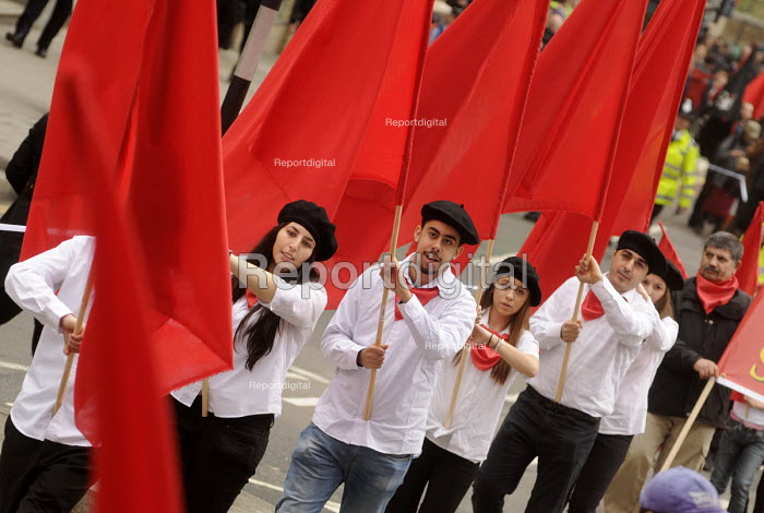 Red flags. 2012 May Day demonstration in London. - Stefano Cagnoni - 2012-05-01