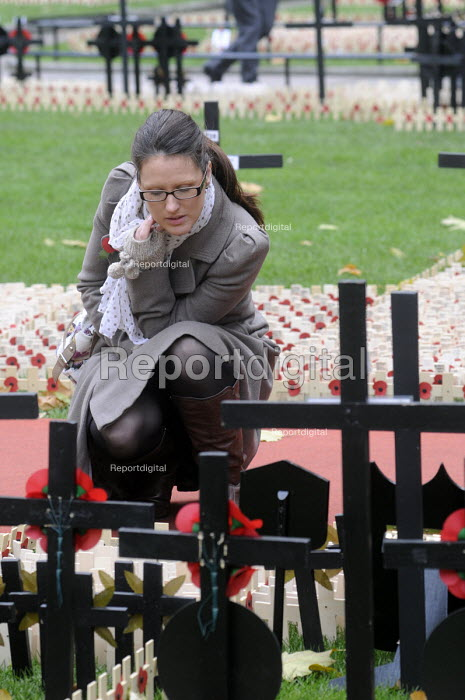Woman looking at the poppies commemorating the war dead in the field of remembrance beside Westminster Abbey in London. - Stefano Cagnoni - 2012-11-07