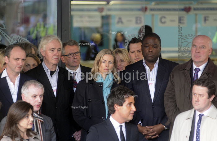 Victims of telephone hacking, including Kate McCann, centre, Bob Dowler, top right, and Jacqui Hames, bottom left, listen to David Sherborne, the lawyer representing victims at the Levenson Inquiry as talks to the press outside the QEII Centre in Westminster after Lord Justice Leveson's press conference to officially launch the results of his Inquiry into media ethics and practise: The Leveson Report. - Stefano Cagnoni - 2012-11-29