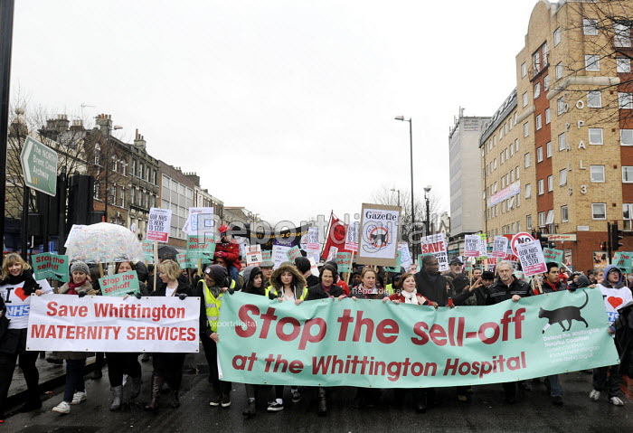 Save Whittington Hospital demonstration. Campaigners, including Labour MPs Emily Thornberry, David Lammy & Jeremy Corbyn lead the protest against privatisation of their local NHS hospital. - Stefano Cagnoni - 2013-03-16
