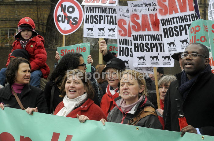 Save Whittington Hospital demonstration. Campaigners, including Labour MPs Emily Thornberry, in red coat, and David Lammy, lead the protest against privatisation of their local NHS hospital. - Stefano Cagnoni - 2013-03-16