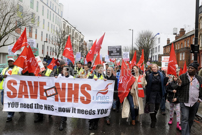 Save Whittington Hospital demonstration. UNITE trade union members on the march against privatisation of their local NHS hospital. - Stefano Cagnoni - 2013-03-16