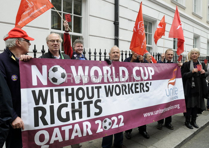 UNITE members at the Qatari embassy in London as part of Workers Memorial Day protest against loss of lives in the construction industry building the stadiums for the 2022 Football World Cup to be held in Qatar. - Stefano Cagnoni - 2014-04-28