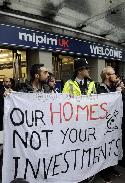 Local community activists protesting at the MIPIM property fair held at Olympia in protest at lack of affordable housing in the UK and especially in London. - Stefano Cagnoni - 2014-10-15