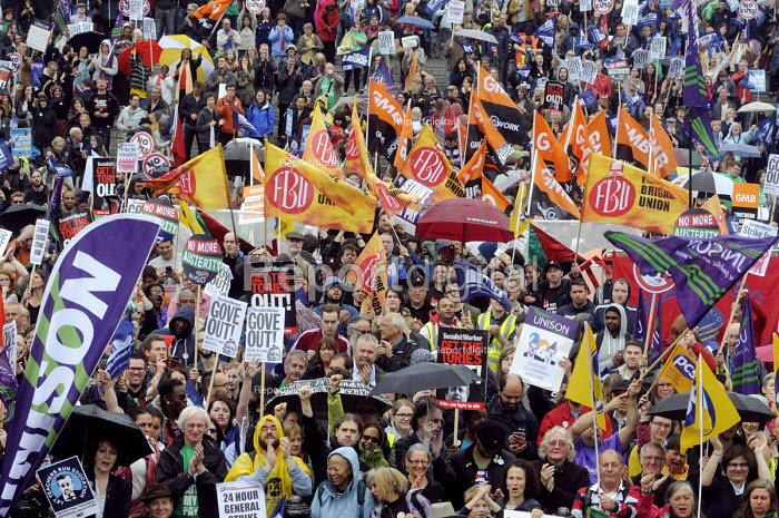 Public sector workers strike over pay, pensions and workload. Strike rally, Trafalgar Square, London. - Stefano Cagnoni - 2014-07-10