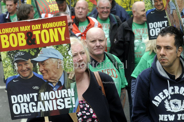 Lives of Socialists, Bob Crow and Tony Benn honoured, May Day march, 2014, London. - Stefano Cagnoni - 2014-05-01