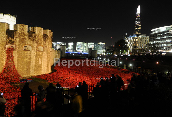Visitors look on at the art installation, floodlit at night, by Paul Cummins in the moat at the Tower of London to commemorate one hundred years since the start of the First World War. 888,246 ceramic poppies, each representing a life lost of a British or colonial soldier who died fighting in the Great War. - Stefano Cagnoni - 2014-11-12