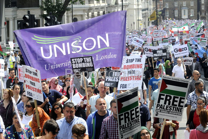End The Siege of Gaza protest march organised by the Palestine Solidarity Campaign, London. UNISON members on the march. - Stefano Cagnoni - 2014-07-19