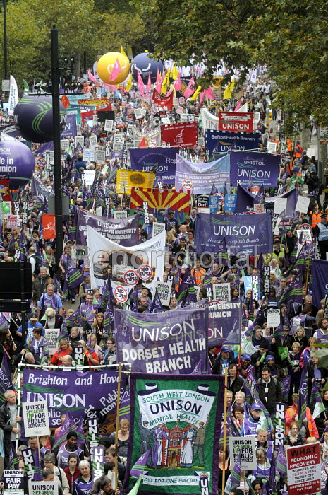 TUC Britain Needs A Pay Rise national demonstration, 2014, London. UNISON trade union members on the march. - Stefano Cagnoni - 2014-10-18