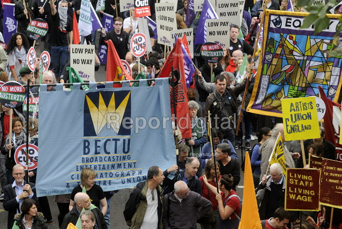 TUC Britain Needs A Pay Rise national demonstration, 2014, London. BECTU trade union members on the march. - Stefano Cagnoni - 2014-10-18