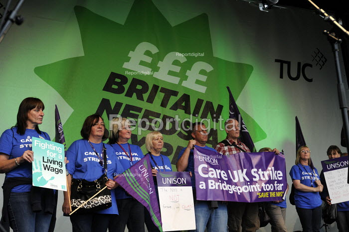 TUC Britain Needs A Pay Rise national demonstration and rally, 2014, London. UNISON members, CARE UK strikers from Doncaster, at the rally. - Stefano Cagnoni - 2014-10-18