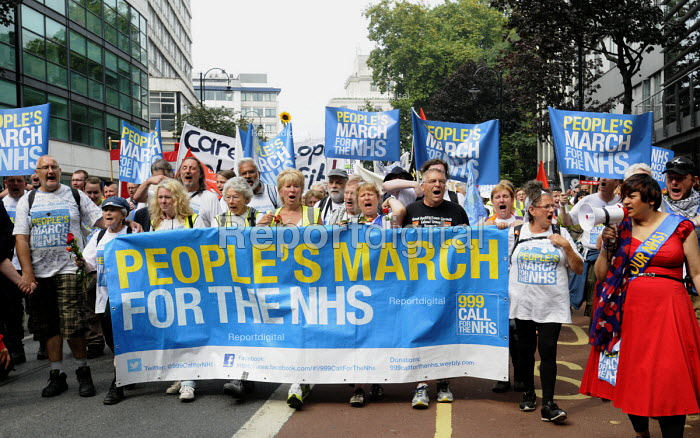 Jarrow People's March for the NHS. After 300 miles the march arrives in London for a demonstration and rally in support of the National Health Service. - Stefano Cagnoni - 2014-09-06