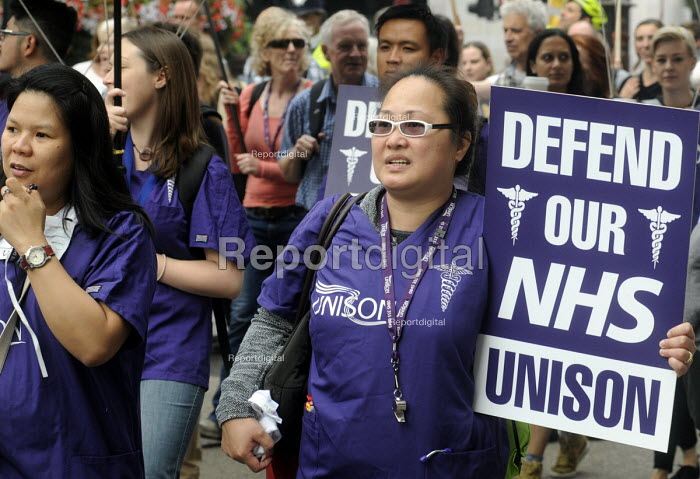 Jarrow People's March for the NHS. After 300 miles the march arrives in London for a demonstration and rally in support of the National Health Service. UNISON members on the march - Stefano Cagnoni - 2014-09-06