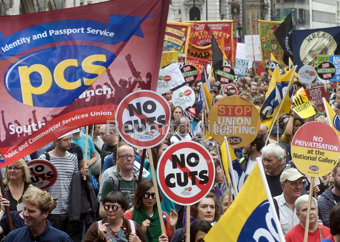 No to Austerity march, London, 2015. PCS trade union members on the march - Stefano Cagnoni - 2015-06-20