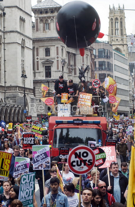 No to Austerity march, London, 2015. FBU trade union members on the march - Stefano Cagnoni - 2015-06-20