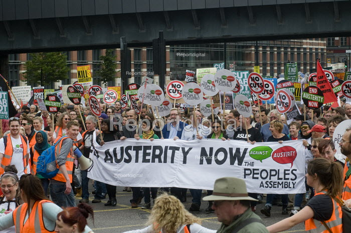 No to Austerity march, London, 2015. UNITE trade union leaders and members on the march - Stefano Cagnoni - 2015-06-20