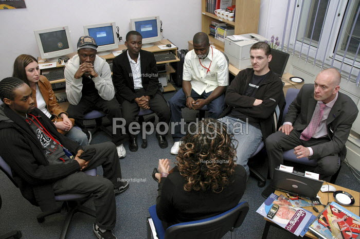 A group of rail workers attending an induction day at the Rail Union Training Centre at Kings Cross.. - Janina Struk - 2005-09-07