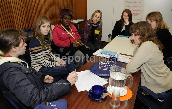 A group of young women taking part in a workshop at BECTU Women's conference. - Janina Struk - 2012-11-28