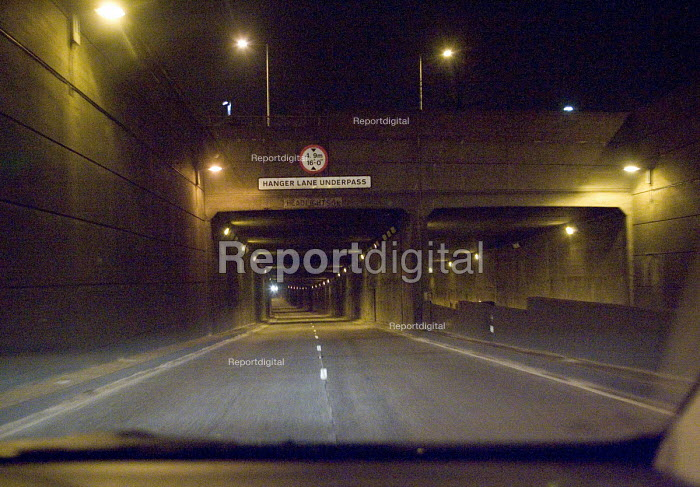Approaching the eastern side of the A40 underpass beneath the A406 North Circular Road at the Hanger Lane Gyratory system, by car at night - John Sturrock - 2005-03-13