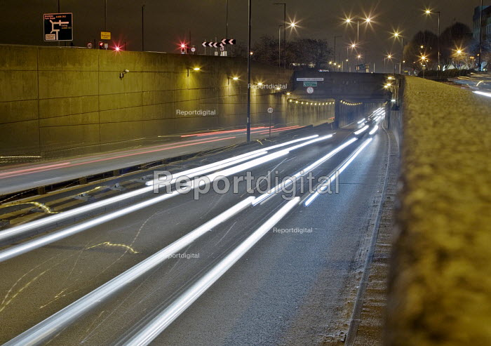 Trails from the lights of cars on the western side of the A40 underpass beneath the A406 North Circular Road at the Hanger Lane Gyratory system, at night - John Sturrock - 2005-03-13