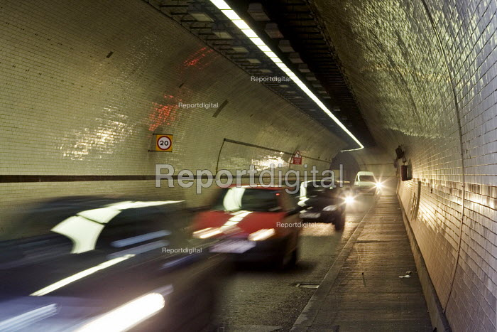 The blurred movement of traffic travelling from Shawell, north of the River Thames, London east end, through the Rotherhithe Tunnel to Rotherhithe in the south - John Sturrock - 2005-03-30
