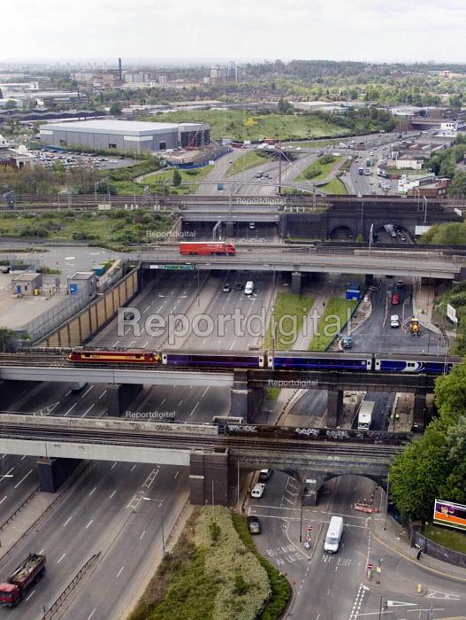Road and rail bridges over the A406 north circular road, near Wembley, north London - John Sturrock - 2004-07-30