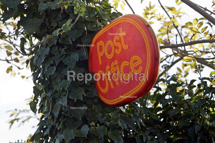 Partially obscured Post Office sign in Upstreet, a village in rural Kent. - John Sturrock - 2005-11-16