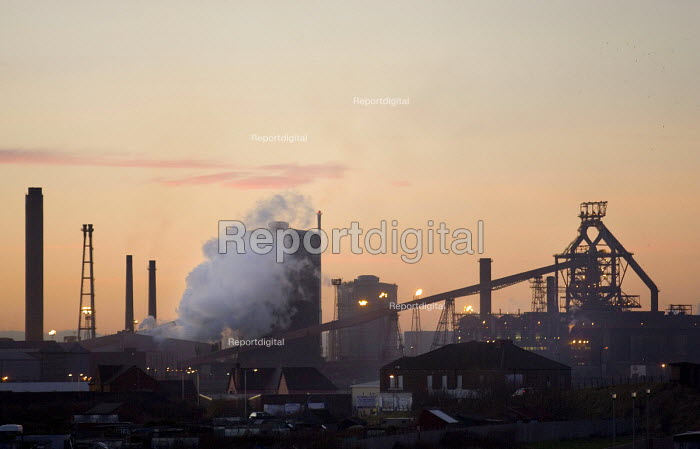 Steam from the coking works rises beside the one remaining blast furnace of Corus Redcar Steelworks - John Sturrock - 2005-12-14