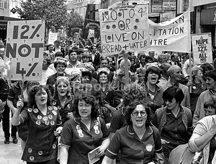 NHS pay dispute 1982. NHS workers and NUM miners march together in protest at a four percent pay offer. Cardiff - John Sturrock - 1982-06-16